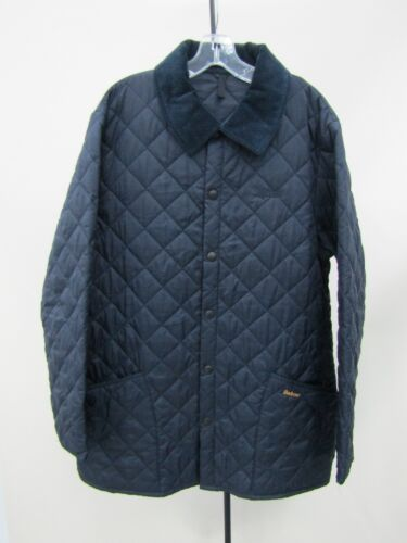 Barbour Men's Liddesdale Navy Blue Button Quilted Coat Jacket Size L