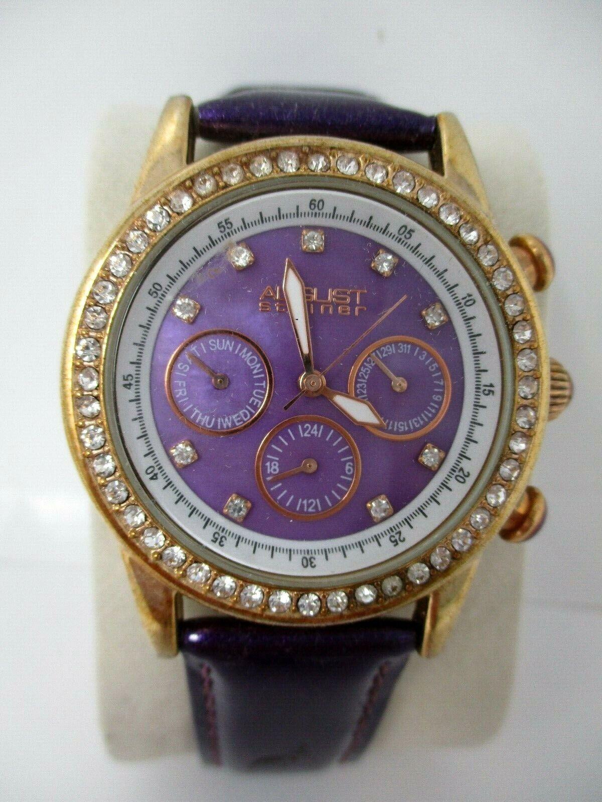 August Steiner Women's Purple Watch With Crystal Accents