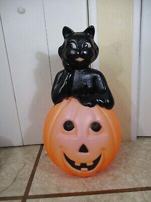 """Vtg HUGE Black Cat Pumpkin Jack O Lantern Lighted Halloween Blow Mold 35"""" (cc)"""