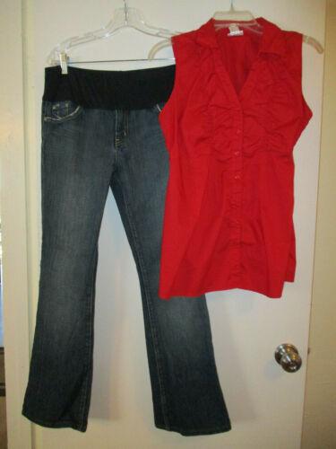 2 Pc Maternity Lot Sz Medium Blue Cult Jeans Sz 30/Red Sleeveless Blouse Mhood