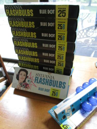 Vtg 10 Pkg  =120 NIB Sylvania Press 25B Blue Dot Flashbulbs All BLUE expect ONE