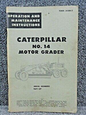 Oem Caterpillar Cat No. 14 Motor Grader Operation Maintenance Manual 96f1-up