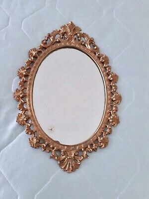 Vintage French Style Heavy Brass Small Wall Mirror