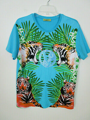 VERSACE JEANS Men's Blue Short Sleeve TIGER Jungle Graphic Shirt Sz M