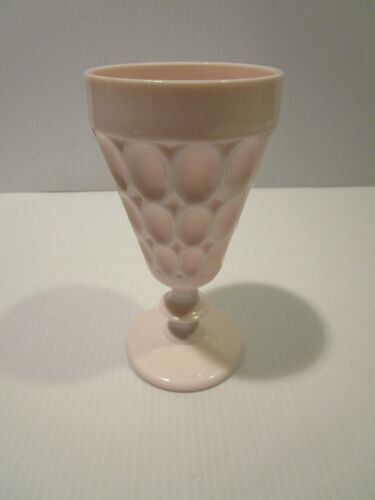 Vintage Shell Pink Milk Glass Stem Goblet, Thumbprint Design