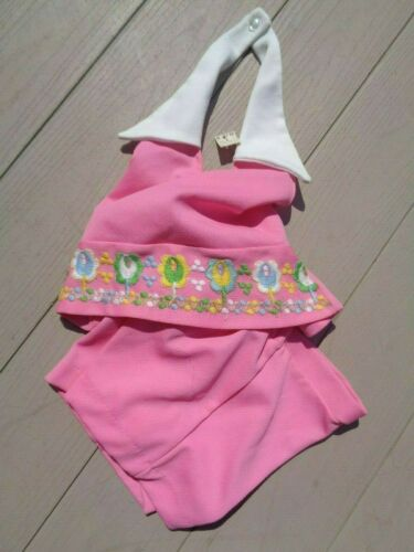 Vtg Girls Sz 6 Pink Collared Halter Top w Flower Power  + Shorts Outfit  NWT