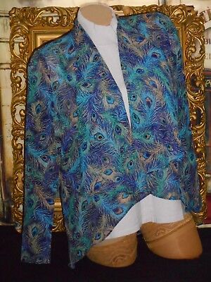 USA S Peacock Feather Motif Silky Fly Away Open Front Over Blouse Top NWOT