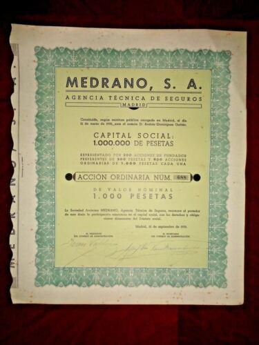 Medrano SA agencia tec.Seguros Share certif. 1935,Spain