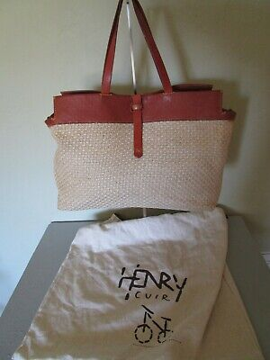 Henry Beguelin Henry Cuir Hand Made in Italy Jute and Leather Super Star Tote