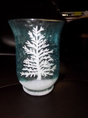 Winter Tree Blue Frosted Glass Candle Holder Floral Vase NEW