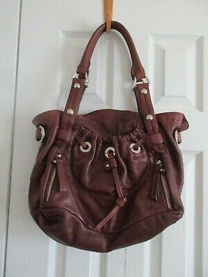 B. Makowsky Large Brown Leather Satchel Silver Hardware Purse/Handbag Pre-Own