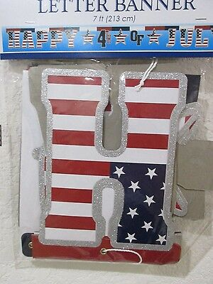 Americana 4th of July Patriotic HAPPY 4TH OF JULY Banner Decoration Decor 7ft