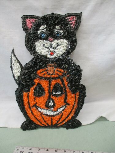 Vintage Melted Popcorn Plastic Decor Halloween Black Cat Orange Pumpkin