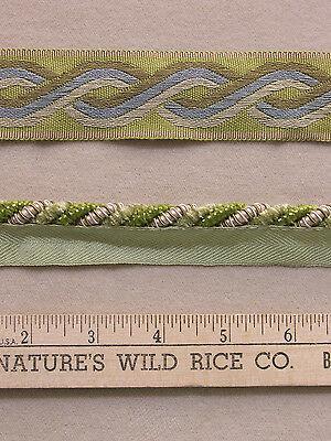 2 Pieces Braided Cord & Ribbon Trim Shades Green Cream Blue 68