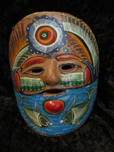 Vintage Mexican Folk Art Pottery Clay Hand Painted Wall Hanging Mask w/2 Fish
