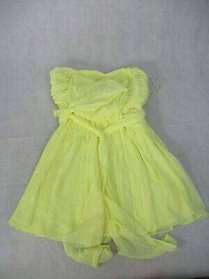 Kate Moss UK 14 Dress Yellow Strapless Ruched Bodice Full Skirt Waist Tie EUR 42