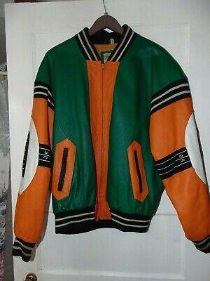 Vintage 1991 Michael Hoban Wheremi Leather Jacket Football Theme Men's Sz. Lg.