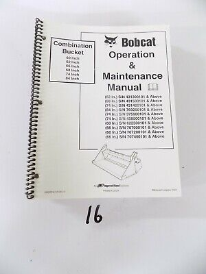 Bobcat Combination Bucket Operation Maintenance Manual 60 62 66 68 74 84