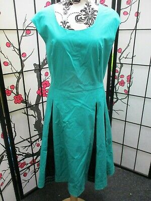 Fab 50's Style Fit & Flare Jade Green Sateen Dress Jonathan Saunders *UK 18* A2