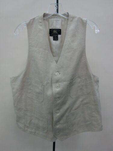 Double RL Polo Ralph Lauren Men's Linen Beige Vest Size L