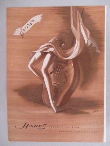 Hanes Seamless Stockings PRINT AD - 1945 ~~ lingerie, Bobri art