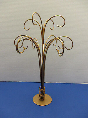 Gold Christmas Ornament Display Stand Tree Holds 16 - Hard to Find! 2 Available!