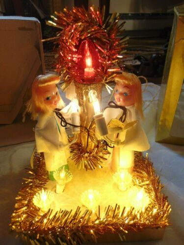 NOS Vintage LIGHTED Christmas Candle Centerpiece CANDLE & ANGELS #335 gorgeous