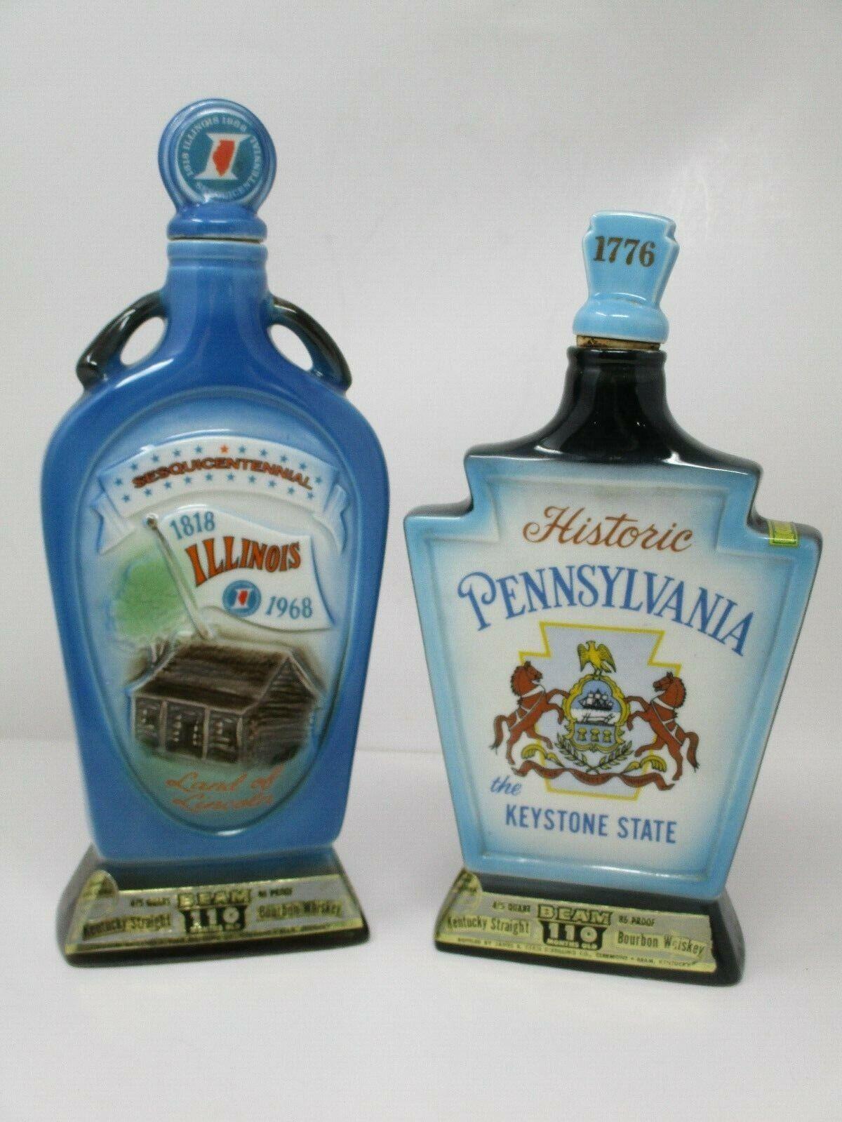 Vintage Jim Beam Bourbon Whiskey State Decanters~ Illinois & Pennsylvania
