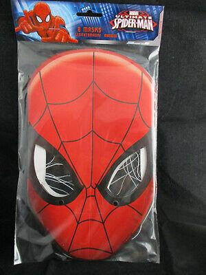 8 x Spiderman Masken aus Papier mit Befestigungsband
