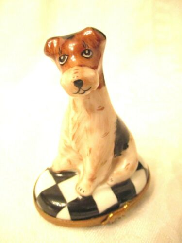 THE BEST Vintage PEINT MAIN LIMOGES Dog FRENCH TRINKET Jewel BOX