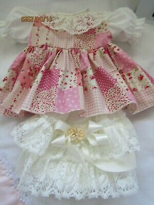 """CLOTHES FOR BABY 0-3mths 16"""" REBORN PINK PATCHWORK 100% COTTON DRESS SET"""