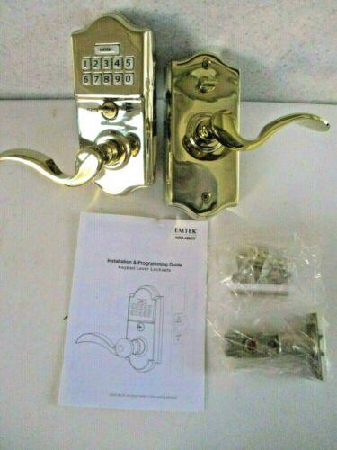 Emtek Exterior Door Knob Lever Lockset Keypad Polished Brass