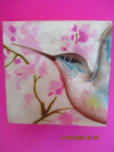 HUMMINGBIRD ~  CAPIZ SHELL TRINKET BOX    1594