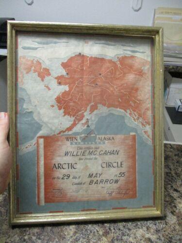 Vintage Wien Alaska Airlines, 1955 flight over the Arctic Circle Certificate
