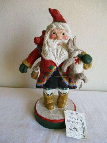 "1992 House of Hatten SNOW MEADOW Christmas 14"" SANTA Mouse RABBIT FIGURINE"