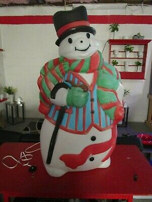 "Vintage Santa's Best Christmas Blow Mold 43"" Tuxedo Snowman Light Up Yard Decor"