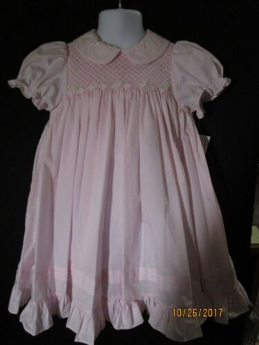 NEW HEIRLOOM SOFT PINK YOKE SMOCKED TUCKED RUFFLE EMBROIDERED DRESS SZ 2T ROSALI