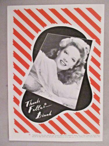 Dinah Shore PRINT AD - 1944