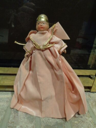 """Vintage Antique Christmas Tree 9"""" Angel Tree Topper Great to Restore"""