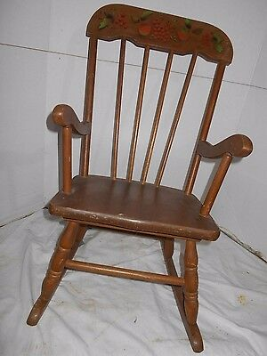 VINTAGE -CHILDS ROCKING CHAIR -PAINTED BLACK & GOLD FRUIT WOODEN -BOSTON ROCKER