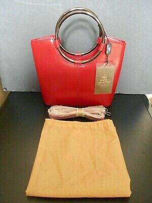 Daniela Moda Leather Tote Handbag Crossbody Purse Deep Red Deep Red Leather Handbag