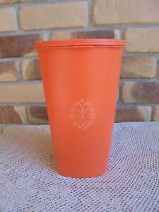 VINTAGE TUPPERWARE TALL ORANGE SERVALIER CANISTER WITH LID 27CM