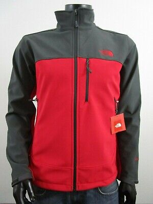 Mens TNF The North Face Apex Bionic FZ Softshell Windproof Jacket - Red / Grey  (North Face Apex Bionic Jacket)