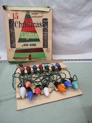 Vintage Kas Kord 15 Christmas Light Set #715 Outdoor Weather Proof Holiday Decor