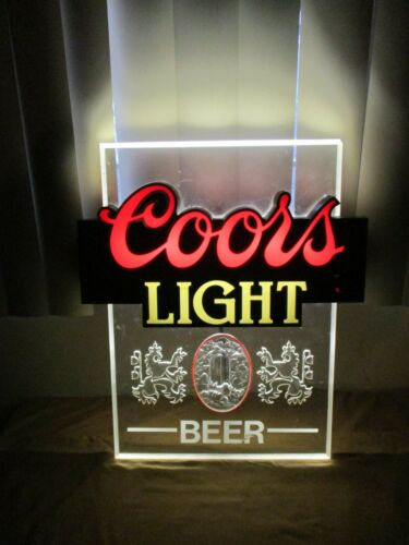 "Vintage Coors Light Beer 3D Bar Sign Wall Light Decor  18.5"" x 15.5"""
