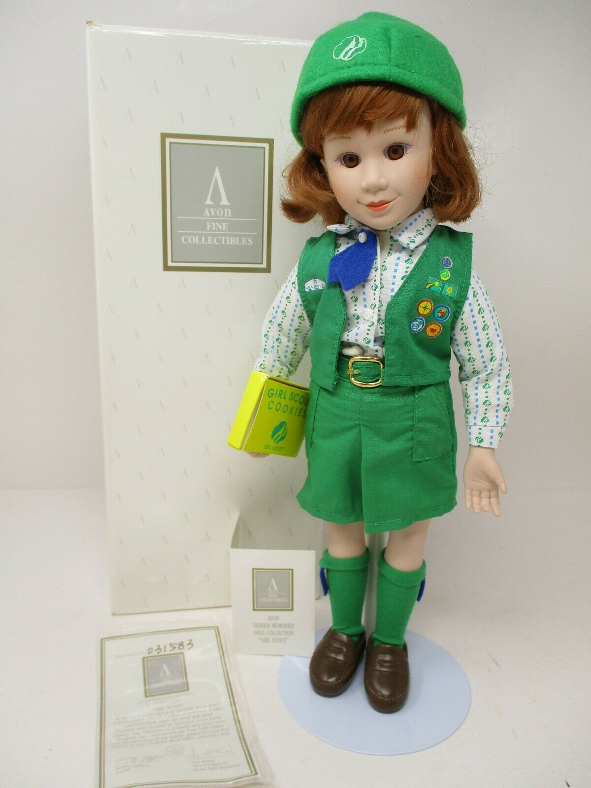 """Avon Tender Memories Girl Scout 14"""" Porcelain Doll New In Box With COA"""