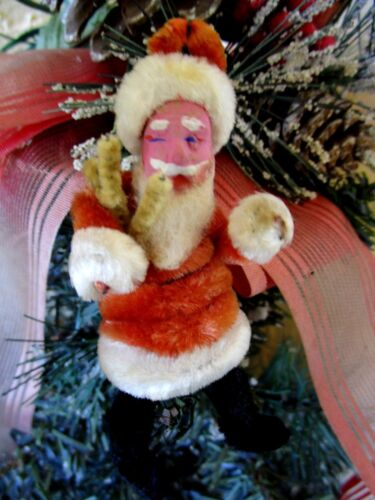 VINTAGE CHENILLE SANTA WITH COMPO CLAY FACE CHRISTMAS ORNAMENT RARE