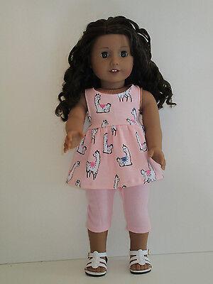 """Llamas/Pink Capri Leggings for 18"""" Doll Clothes American Girl"""