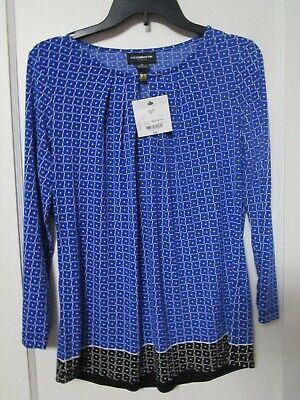 NWT Women's LIZ CLAIBORNE Blue Geometric Print Blouse Size S