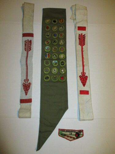 Order of the Arrow Tonkawampus Patch Merit Badge Sash & Ordeal Scout BSA OA Lot